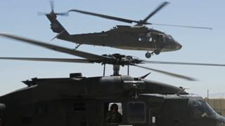 Helicopters of 10th Combat Aviation Brigade at Forward Operating Base Ghazni, Afghanistan on May 17, 2013