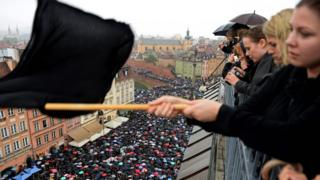 """A rally in Warsaw during a nationwide """"Black Monday"""" protest on 3 October"""