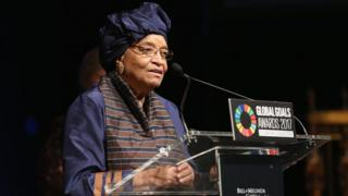 Ellen Johnson Sirleaf speaks on stage in fresh York (September 2017)