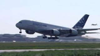 An Airbus A380 taking off on its first test flight