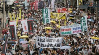 annual pro-democracy protest in Hong Kong