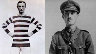 Donald Bell in his football kit and uniform