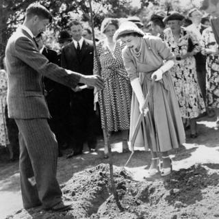 Princess Elizabeth opening a holiday centre for young people at Avon Tyrell, Hampshire