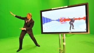 Jeremy Vine in front of the green screen for the Swingometer