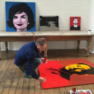 Paul Stephenson working on After Warhol painting