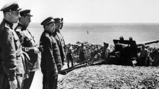 Советские офицеры в Порт-Артуре 2 сентября 1945 г.