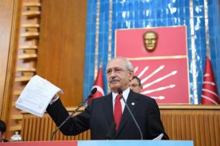 Turkey's main opposition Republican People's Party leader Kemal Kilicdaroglu speaks at a party meeting