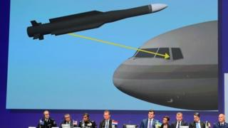 Members of a joint investigation team present the preliminary results of the criminal investigation into the downing of Malaysia Airlines flight MH17 , in Nieuwegein, on September 28, 201