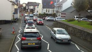 Traffic jam in Onchan