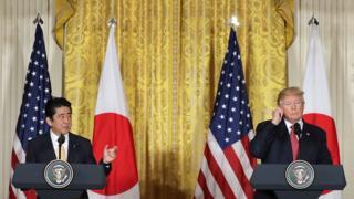 美國總統特朗普在白宮會見日本首相安倍晉三後