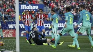 Lionel Messi lokacin da ya ci Atletico Madrid