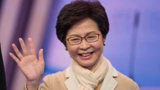 Hong Kong Chief Executive candidate Carrie Lam poses for a photo call before participating in a televised debate in Hong Kong, China, 14 March 2017