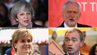 (Clockwise from top left) Theresa May, Jeremy Corbyn, Tim Farron, Nicola Sturgeon