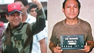 General Manuel Noriega in October 1989 in Panama (L) and in January 1990 in Miami
