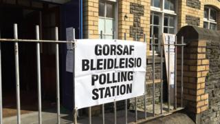 Polling station in Cardiff