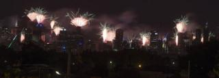 A general view on fireworks from Ruckers Hill in Northcote during New Year's Eve celebrations in Melbourne, Australia, 01 January 2018.