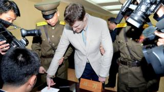 """This file photo taken on March 16, 2016 and released from North Korea""""s official Korean Central News Agency (KCNA) shows the trial of US student Otto Frederick Warmbier,"""