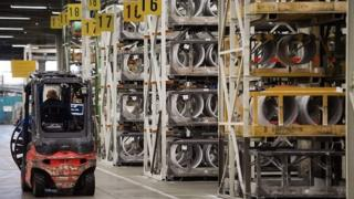 The inside of a tyre factory in France