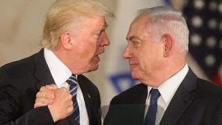 US President Donald Trump and Israeli Prime Minister Benjamin Netanyahu at the Israel Museum in Jerusalem. May 23, 2017