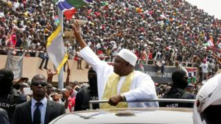 Gambian President Adama Barrow greets thousands of supporters at Independence Stadium