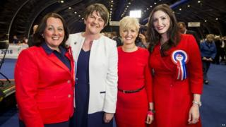 Paula Bradley, Arlene Foster, Joanne Bunting and Emma Little Pengelly of the DUP at the Belfast count centre