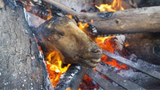 """A sheeps head known locally as a """"Smiley"""" is prepared in a fire at a butchery in Masiphumelele, Cape Town, South Africa, 04 May 2017. Meat cooked on an open wood fire is known as braaing in South Africa and is very popular amongst township residents. This butcher shop has been running for the past five years. Slaughtered Cows and Sheep are sourced from a farm in Paarl some 120 kilometers A butcher displays cuts of meat for sale at a butchery in Masiphumelele, Cape Town, South Africa, 04 May 2017. Meat cooked on an open wood fire is known as braaing in South Africa and is very popular amongst township residents. This butcher shop has been running for the past five years."""