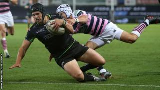 Dan Evans scores Ospreys' sixth try against Cardiff Blues