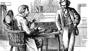 A sketch of two gentlemen reading by a table