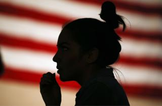 A Clinton supporter at her rally in Nevada