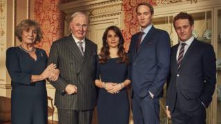 Camilla (Margot Leicester), King Charles III (Tim Pigott-Smith), Kate Middleton (Charlotte Riley), Prince William (Oliver Chris), Prince Harry (Richard Goulding) in King Charles III