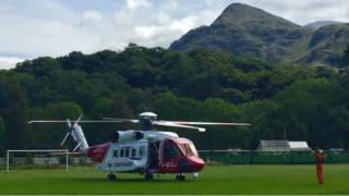 HM Coastguard helicopter at Llanberis