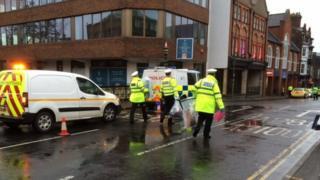 Fatal crash scene in Guildford