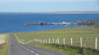 B9063 on Eday, looking over to Stronsay