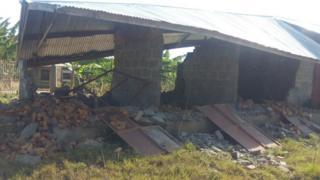Nyumba zilizoporomoshwa na tetemeko la ardhi nchini Tanzania