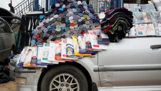 Underwear displayed for sale on the bonnet of a vehicle parked along a road in Ikeja district in Nigeria's commercial capital Lagos 4 July