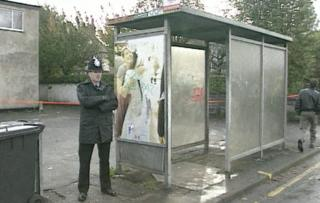 Bus stop where woman was abducted from, shown in October 1992