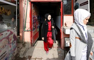 Students leave after an exercise at the Shaolin Wushu club in Kabul, Afghanistan.