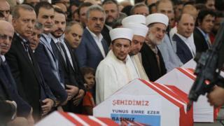 İstanbul'daki cenaze törenlerine Cumhurbaşkanı Recep Tayyip Erdoğan da katıldı
