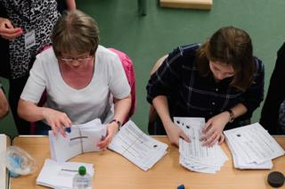 The first ballot papers are counted