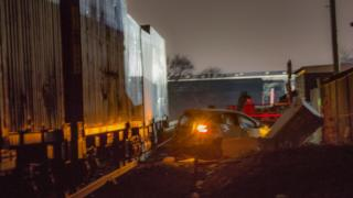 The crash scene at Routs level crossing