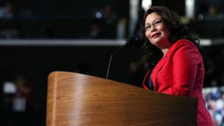 Tammy Duckworth speaks during day one of the Democratic National Convention in 2012