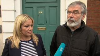 Sinn Fein's Michelle O'Neill and Gerry Adams