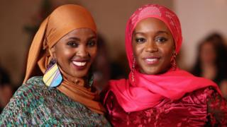 "Ifrah Ahmed (left) with Aja Naomi King who plays her during filming at the Westin Hotel in Dublin of ""A Girl from Mogadishu"", a true story based on the testimony of Ahmed, who, having escaped war-torn Somalia, has emerged as one of the world""s foremost international activists against Female Genital Mutilation"