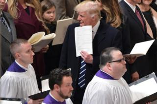 US President Donald Trump attends the National Prayer Service at the National Cathedral on January 21, 2017 in Washington, DC.