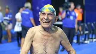 George Corones grinning after his record-setting swim