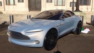 The Aston Martin DBX was unveiled in Cardiff's civic centre on Wednesday