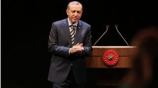 Erdoğan kürsüde