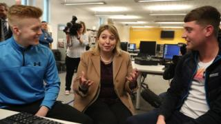 Karen Bradley meeting students at Belfast Metropolitan College