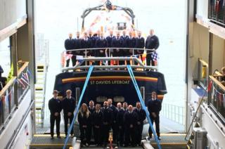St Davids RNLI crew with Norah Wortley lifeboat