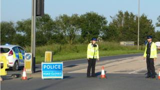 The A20 at Newingreen, near Folkestone, where a motorcyclist died after colliding with two vehicles